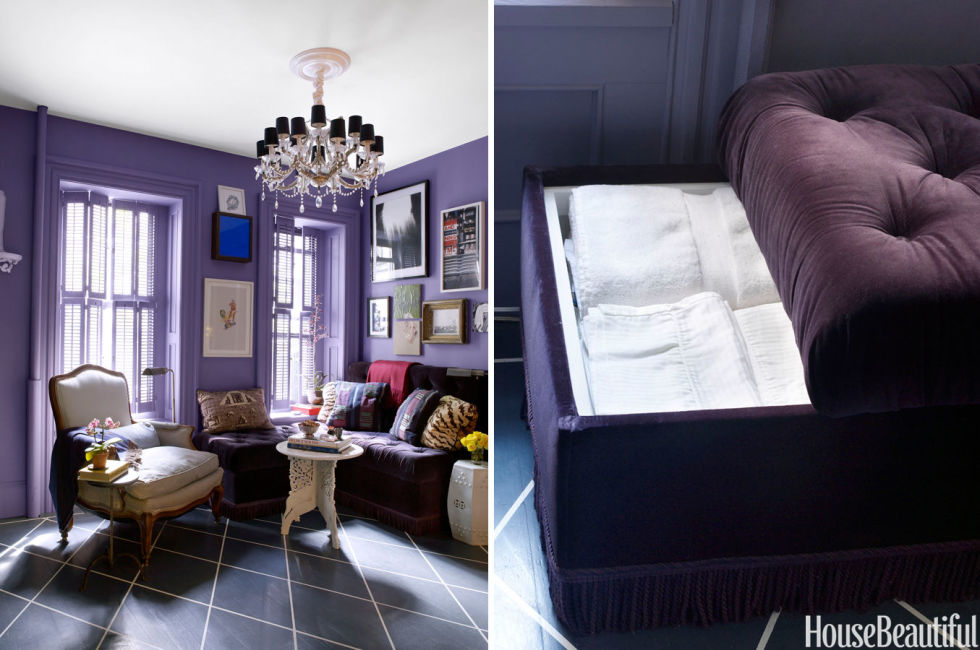 διακόσμηση σαλονιού μικρού χώρου με καναπε με αποθηκευτικό χώρο